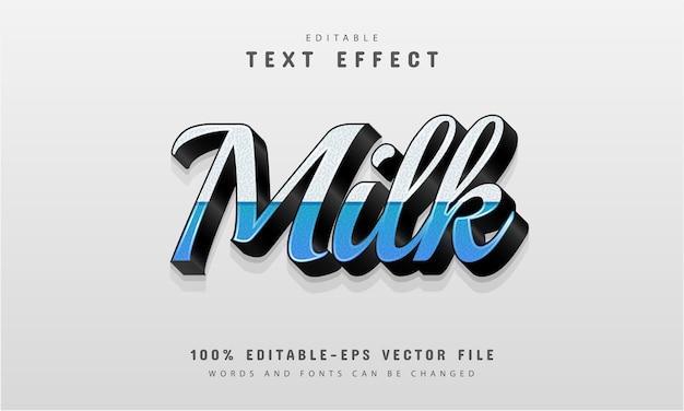 Efeito de texto leite editável