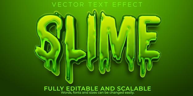 Efeito de texto limoso, verde editável e estilo de texto aderente