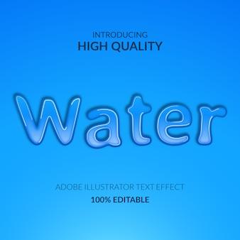 Efeito de texto líquido azul gota água aqua