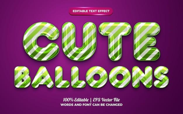 Efeito de texto líquido editável em balões fofos para feliz aniversário