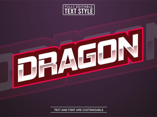 Efeito de texto logotipo legal esport moderno dragão vermelho