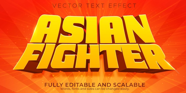 Efeito de texto lutador asiático, estilo de texto amarelo editável