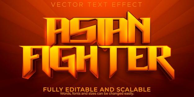 Efeito de texto lutador, estilo de texto asiático e de jogo editável