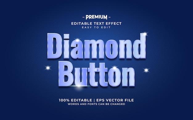 Efeito de texto luxuoso de botão de diamante azul