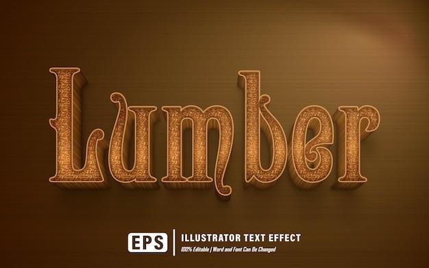 Efeito de texto madeira serrada - editável