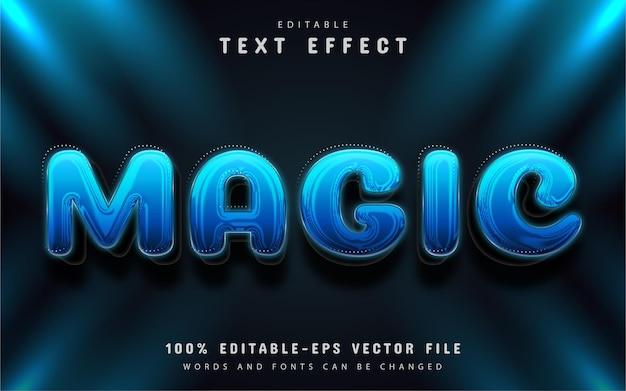 Efeito de texto mágico azul editável