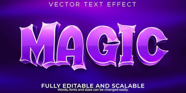 Efeito de texto mágico, bruxa editável e estilo de texto de desenho animado