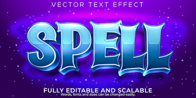 Efeito de texto mágico de soletrar, desenho editável e estilo de texto infantil