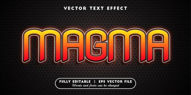Efeito de texto magma, estilo de texto editável