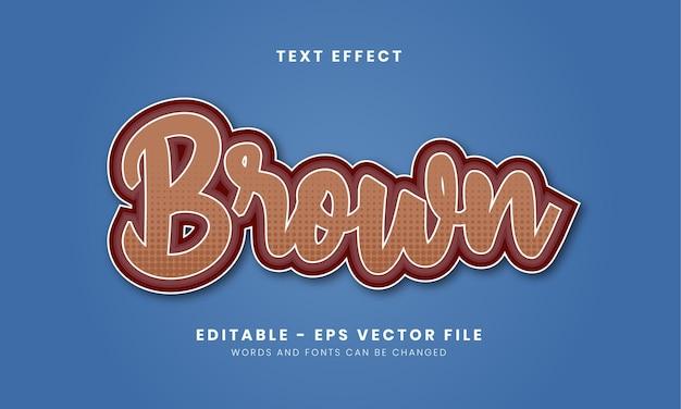 Efeito de texto marrom editável para adesivo etc.