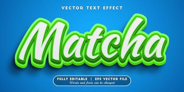 Efeito de texto matcha com estilo de texto editável