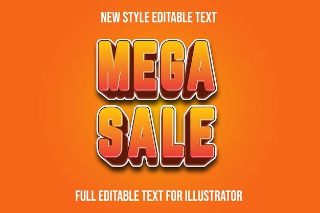 Efeito de texto mega venda cor gradiente amarelo e laranja