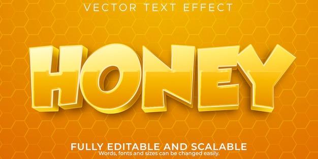 Efeito de texto mel, abelha editável e estilo de texto natural