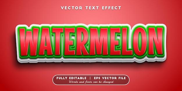 Efeito de texto melancia com estilo de texto editável
