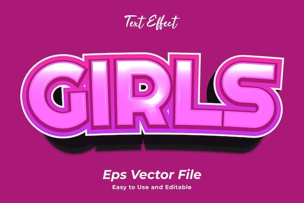 Efeito de texto meninas editável e fácil de usar vetor premium