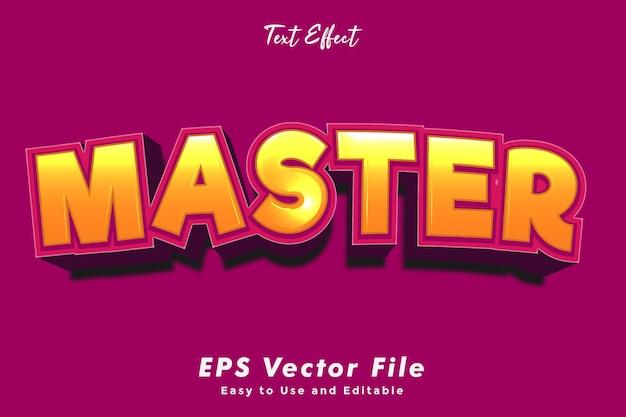 Efeito de texto mestre moderno. editável e fácil de usar. efeito de tipografia