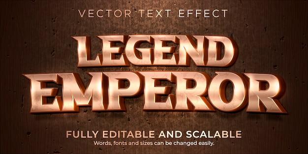 Efeito de texto metálico de legenda, estilo de texto editável épico e histórico