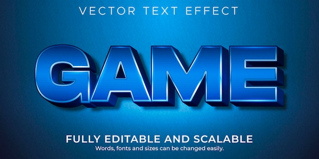 Efeito de texto metálico do jogo editável estilo brilhante e elegante