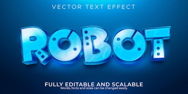 Efeito de texto metálico do robô, tecnologia editável e estilo de texto brilhante