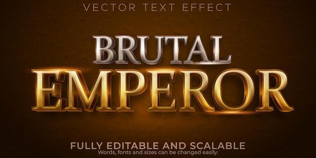 Efeito de texto metálico imperador, estilo de texto editável de guerreiro e cavaleiro