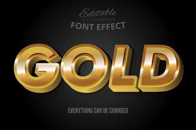 Efeito de texto metálico ouro, estilo alfabeto ouro brilhante