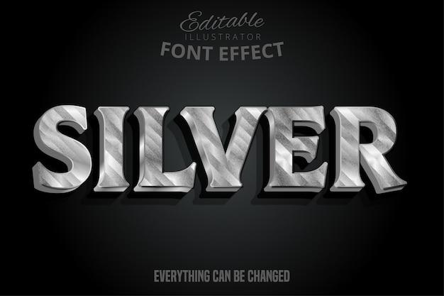 Efeito de texto metálico prateado, estilo alfabeto prateado brilhante