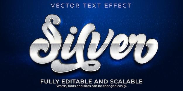 Efeito de texto metálico prateado, estilo de texto editável brilhante e elegante