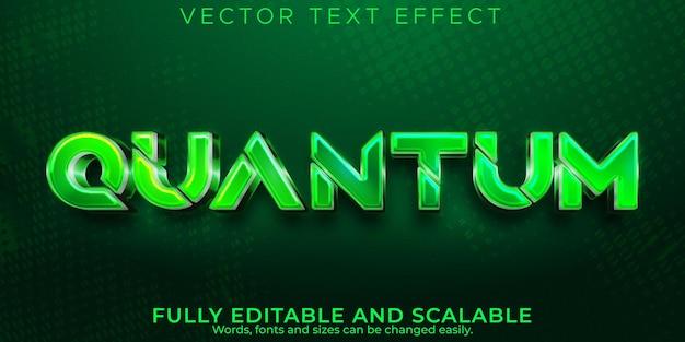 Efeito de texto metálico quântico, jogos editáveis e estilo de texto digital