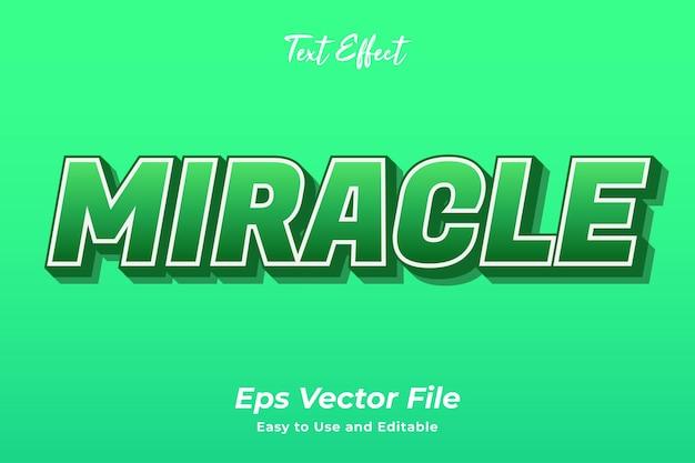 Efeito de texto milagre editável e fácil de usar vetor premium