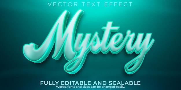 Efeito de texto misterioso, terror editável e estilo de texto de desenho animado