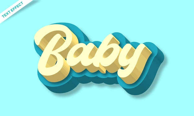 Efeito de texto moderno 3d colorido para bebês