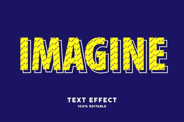 Efeito de texto moderno amarelo pop art