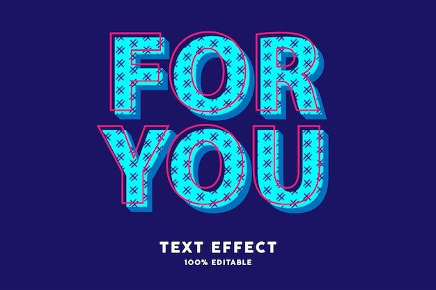 Efeito de texto moderno azul ciano pop art