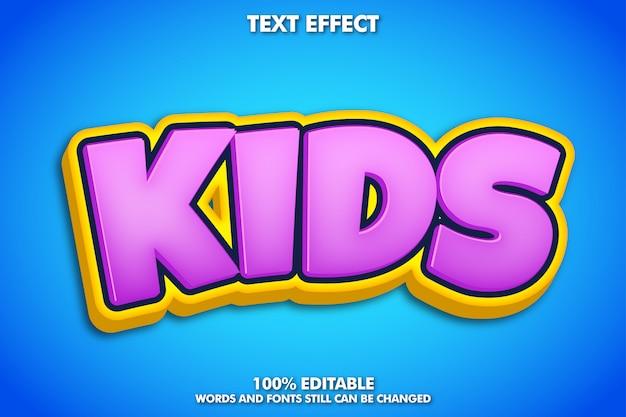 Efeito de texto moderno bonito dos desenhos animados