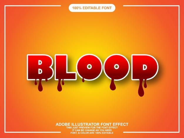 Efeito de texto moderno illustrator editável de sangue