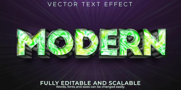 Efeito de texto moderno, mármore editável e estilo de texto de decoração