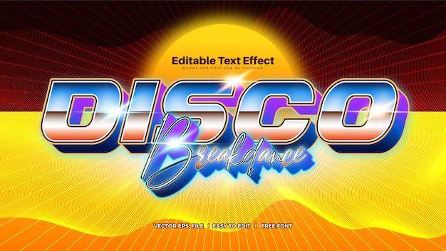 Efeito de texto moderno retro disco pop dos anos 80