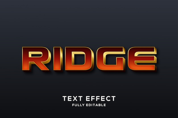 Efeito de texto moderno vermelho e dourado