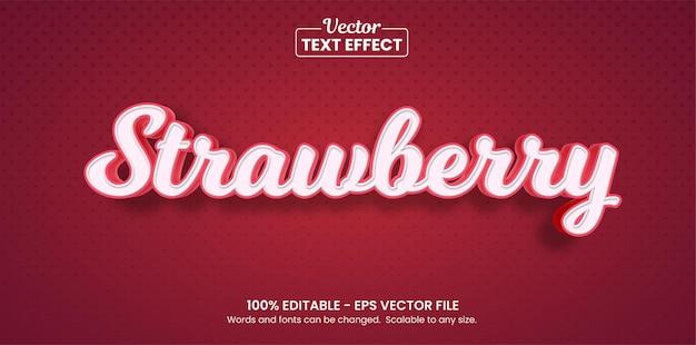 Efeito de texto morango fruta, efeito de texto editável