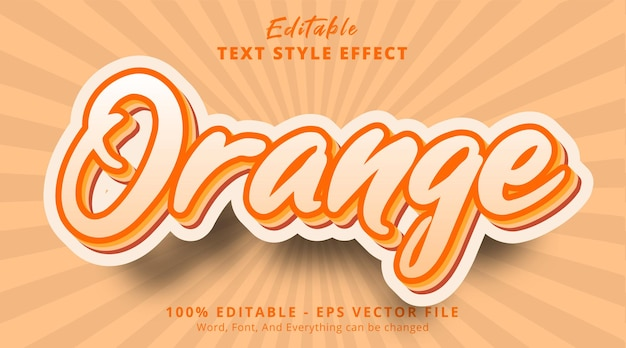 Efeito de texto multicolorido em laranja, efeito de texto editável