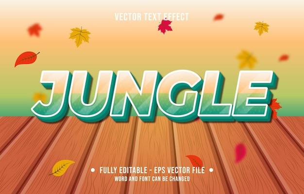 Efeito de texto na selva, estilo gradiente, fundo da temporada de outono