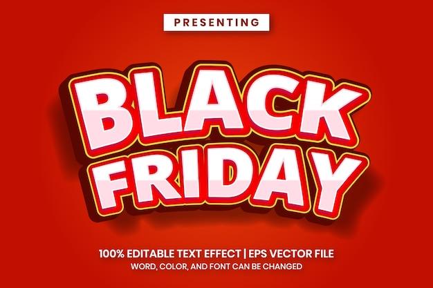 Efeito de texto na sexta-feira em preto com estilo divertido e arrojado