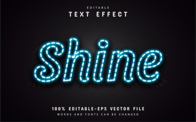 Efeito de texto neon azul brilhante