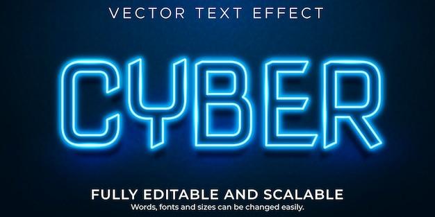 Efeito de texto neon cibernético editável, estilo de texto brilhante e brilhante