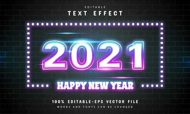Efeito de texto neon colorido feliz ano novo 2021