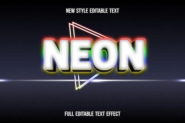 Efeito de texto neon cor branco e vermelho verde azul gradiente amarelo