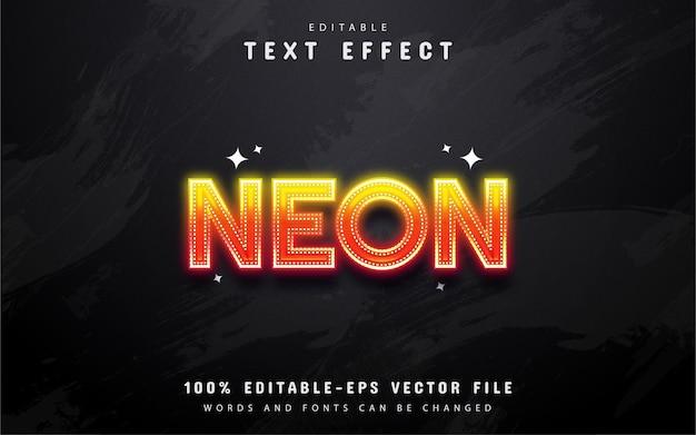 Efeito de texto neon gradiente laranja