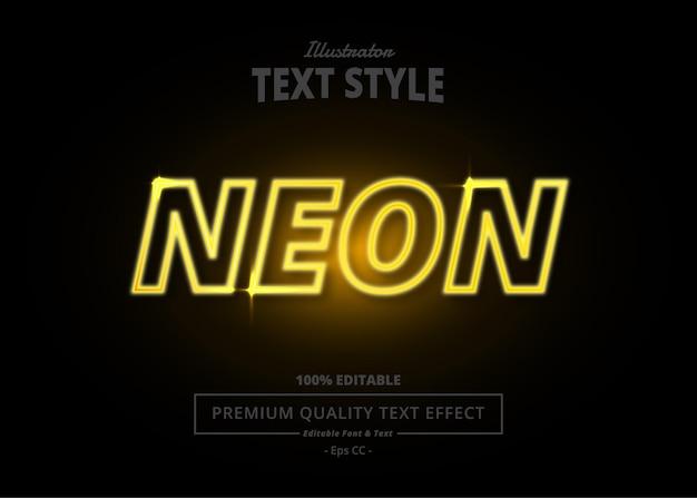 Efeito de texto neon illustrator Vetor Premium