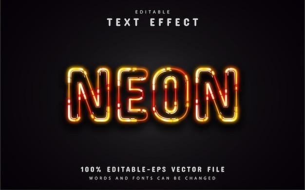 Efeito de texto neon laranja