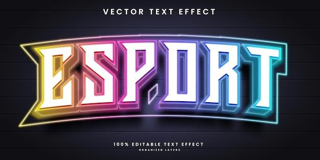Efeito de texto neon no estilo esport